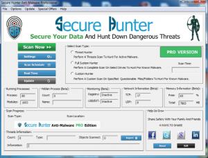 Secure Hunter Anti-Malware MainScreen