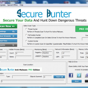 Secure Hunter Anti Malware Screen shot