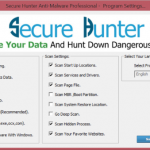 Secure Hunter Anti-Malware program settings